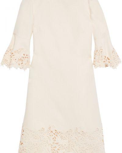 Шелковое бежевое кружевное платье Valentino