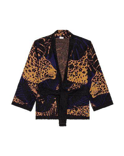 Czarne kimono wełniane Saint Laurent