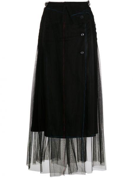 Черная с завышенной талией юбка из фатина Maison Margiela