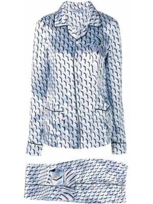 Niebieska spodni piżama z długimi rękawami z wiskozy Prada