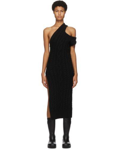 Черное платье с воротником без рукавов с манжетами Telfar