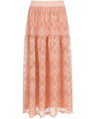 Гипюровая розовая юбка миди на молнии НК