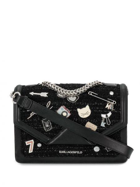 Сумка на цепочке на плечо твидовая Karl Lagerfeld