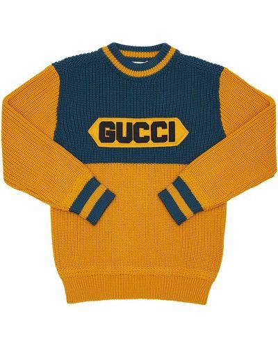 Wełniany żółty sweter z kołnierzem z mankietami Gucci