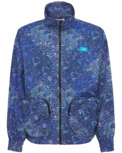 Satynowa niebieska kurtka z printem Lc23