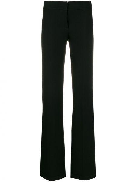 Czarne spodnie z jedwabiu rozkloszowane Genny