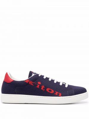 Синие кеды с вышивкой Kiton