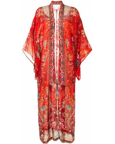 Z rękawami jedwab kimono z draperią wzór w kwiaty Camilla