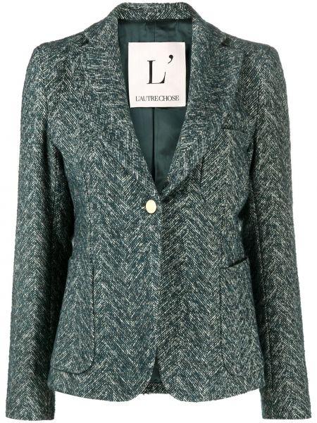 Зеленый шерстяной удлиненный пиджак на пуговицах L'autre Chose