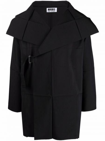 Czarna długa kurtka materiałowa z długimi rękawami 132 5. Issey Miyake