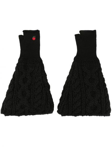 Czarne rękawiczki bez palców wełniane z haftem Undercover