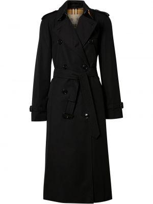 Черное пальто с воротником с поясом из габардина Burberry