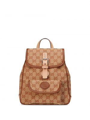 Beżowy plecak skórzany klamry Gucci Kids