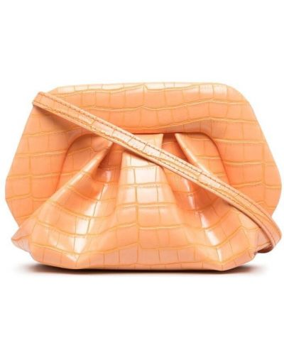 Оранжевая сумка на плечо из крокодила с тиснением Themoirè