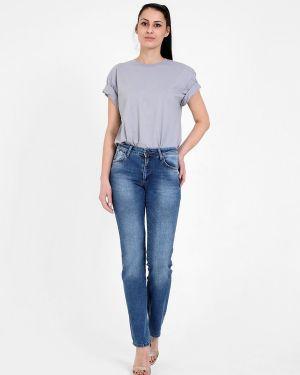 Синие пляжные джинсы с высокой посадкой стрейч с пайетками F5