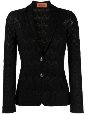 Вязаный трикотажный черный удлиненный пиджак Missoni