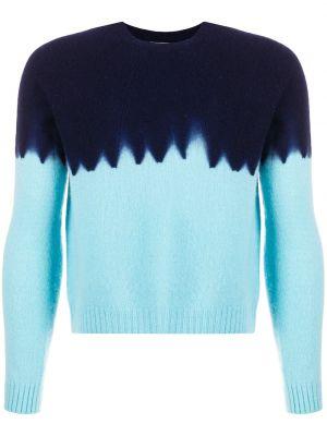 Кашемировый синий свитер в рубчик с вырезом Suzusan