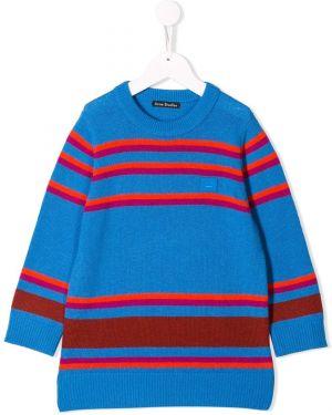 Niebieski prążkowany pulower wełniany Acne Studios Kids