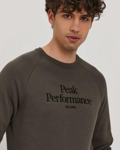 Brązowa bluza z kapturem bawełniana Peak Performance