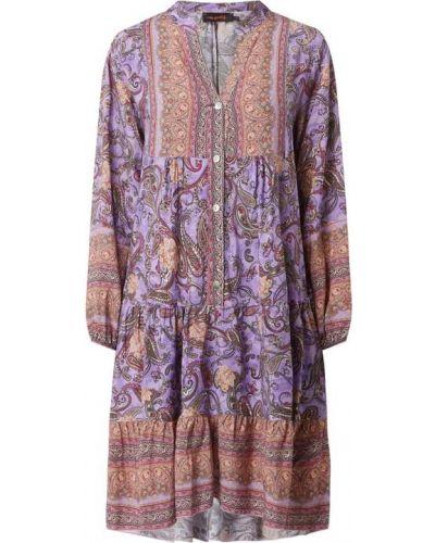 Sukienka rozkloszowana z długimi rękawami - fioletowa Miss Goodlife