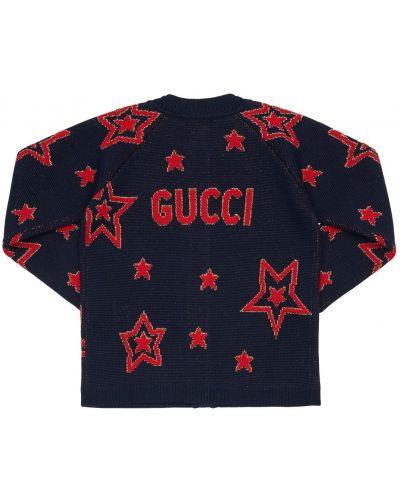 Wełniany kardigan z mankietami z kołnierzem Gucci