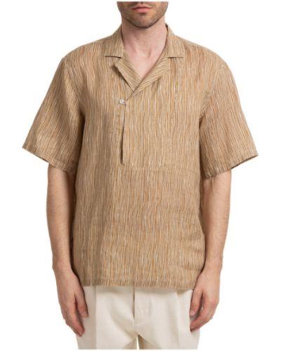 Beżowa koszula krótki rękaw Lardini