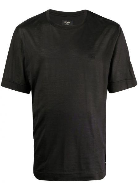 Koszula krótkie z krótkim rękawem jedwab z logo Fendi
