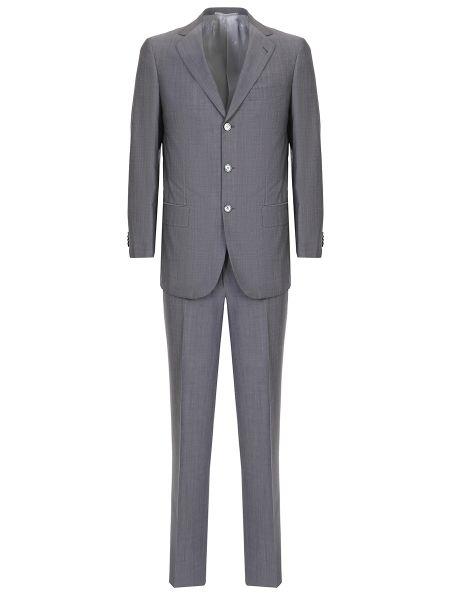 Шерстяной серый костюмный костюм классический на пуговицах Castangia