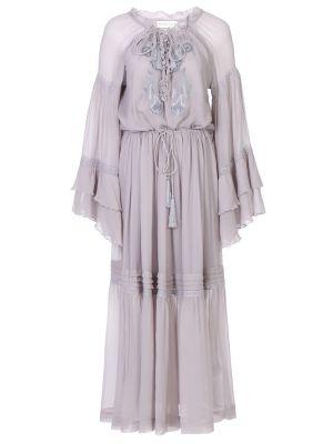 Шелковое с рукавами платье макси бохо Etro