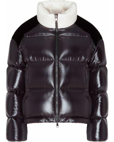 Стеганая куртка черная на молнии Moncler