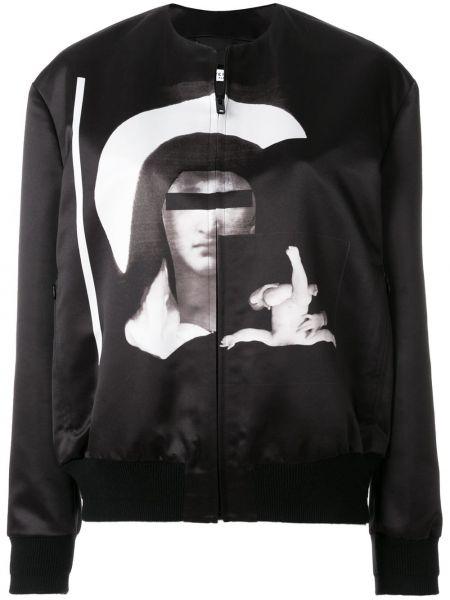Czarna kurtka z wiskozy z printem Givenchy