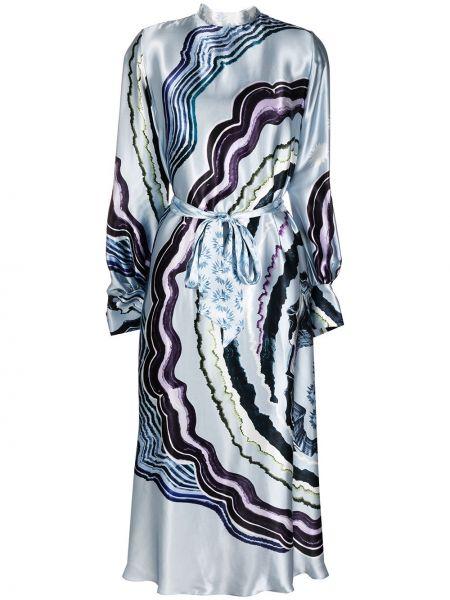 Синее шелковое платье на пуговицах с манжетами Temperley London