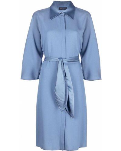 Платье мини с воротником - синее Piazza Sempione