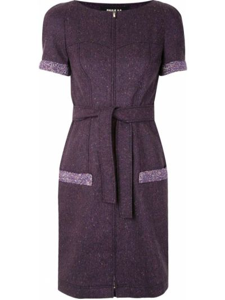 Фиолетовое платье мини твидовое с вырезом на молнии Paule Ka