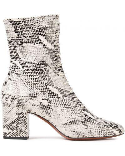 Ankle boots skorzane z printem koronkowe Alexachung