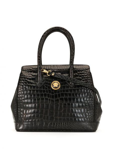 Золотистая черная сумка-тоут круглая на молнии Versace Pre-owned