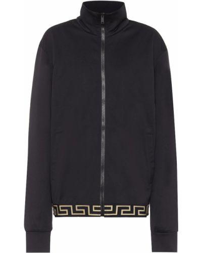 Хлопковая ватная черная куртка Versace