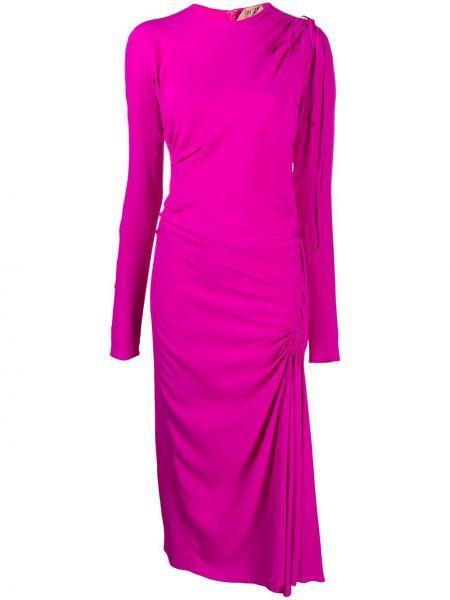 Асимметричное розовое платье миди с драпировкой с вырезом N°21