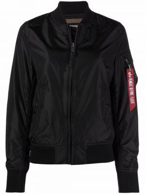 Бейсбольная черная длинная куртка с воротником Alpha Industries