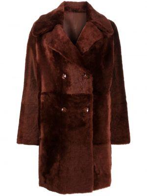 Коричневое кожаное длинное пальто двубортное Liska