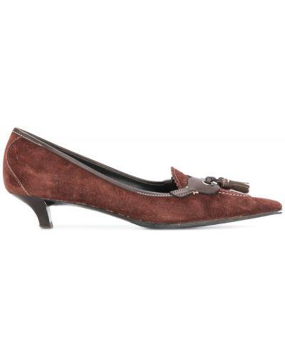 Кожаные туфли с кисточками на каблуке Miu Miu Pre-owned