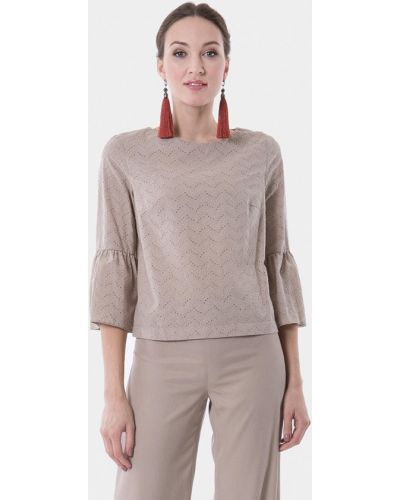 Блузка с коротким рукавом бежевый весенний Vladi Collection