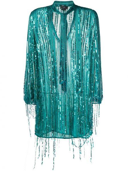 Синее платье с вышивкой на молнии из вискозы Elisabetta Franchi