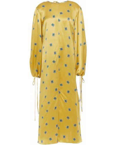 Желтый шелковый кафтан с манжетами Olivia Von Halle