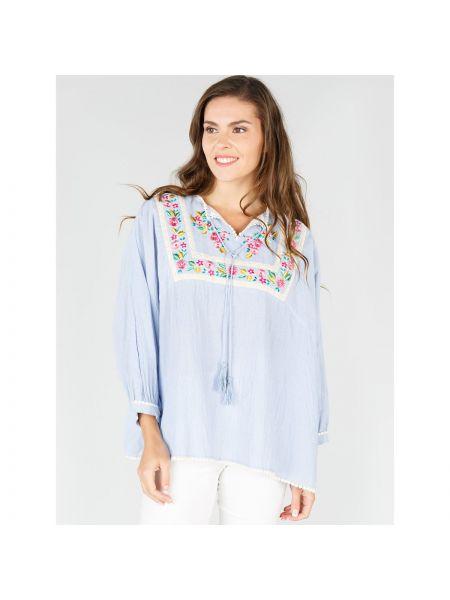 Блузка в полоску с вышивкой Rene Derhy