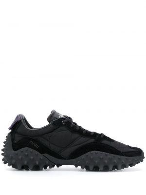 Ażurowy czarny włókienniczy sneakersy z łatami Eytys