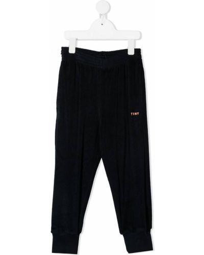 Хлопковые синие брюки с манжетами с вышивкой Tiny Cottons