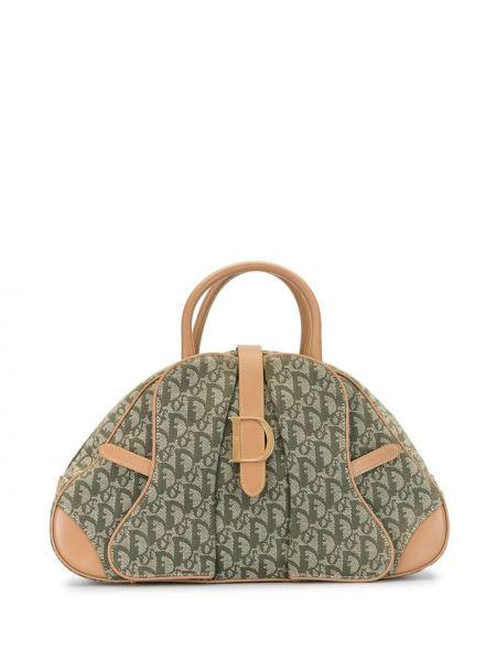 Парусиновая кожаная сумка круглая на молнии Christian Dior
