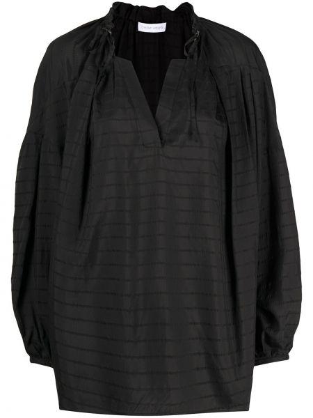 Прямая черная шелковая туника с V-образным вырезом Christian Wijnants