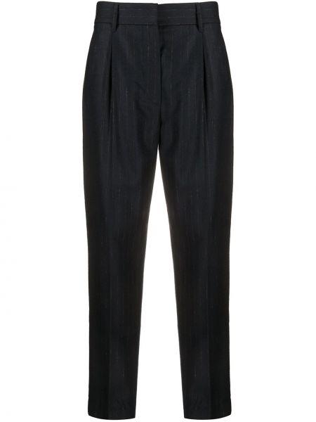 Синие шерстяные прямые брюки с высокой посадкой Brunello Cucinelli